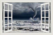 """Tornado Auf der Sea Lightening 3D Wandtattoo Home Decor Raum Vinyl Tapete, W0454, 32""""""""X48"""