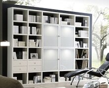 Toro Bücherregal mit Glastüren weiß Lack nach