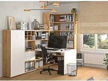 Toro Eckregal mit Schreibtisch weiß / eiche