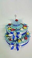Torte Bomboniere Mini Auto Magnet Farben sortiert Taufe Kommunion Konfirmation Geburtstag Geburt bis 32Teile inklusive Karte