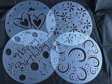 Torten Schablonen Tatoo Kuchen Dekoration 4er Set Geburtstag Happy Bithday Frühling Blumen Herzen Muster Verzierung von ROYAL HOUSEWARE