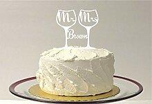 Tortenaufsatz für Hochzeitstorte, Weinglas,