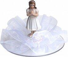 Tortendeko Tortenaufsatz Tischdeko Mädchen Weiß Konfirmation Kommunion
