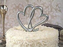 Tortendeko zur Hochzeit Silberhochzeit Herzen silber mit Strass