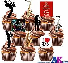 Tortendekoration, Motiv: Saxophon Mix (teilweise englischsprachige Aufschrift), essbar, zum Aufstellen, 36 Stück