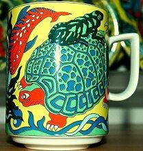 TORTUE (gelb) BOPLA Porzellan MAXITASSE Maxicup Häferl Becher für Tee Kaffee Glühwein MAXI TASSE MUG MAXI TAZZA MAXI CUP MAXI TAZA 0,3 l, 3,0 dl, 10-1/2 fl. oz. Geeignet für alle heissen und kalten Getränke (Grundfarbe gelb)