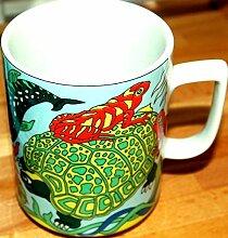 TORTUE hellblau BOPLA Porzellan MAXITASSE Maxicup Häferl Becher für Tee Kaffee Glühwein MAXI TASSE MUG MAXI TAZZA MAXI CUP MAXI TAZA 0,3 l, 3,0 dl, 10-1/2 fl. oz. Geeignet für alle heissen und kalten Getränke (Grundfarbe hellblau)
