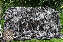 Toscana Lammfelldecke charcoal 200 x 155 cm Rückseite Leder