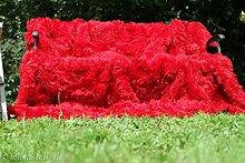 Toscana Lammfelldecke rot 200 x 155 cm Rückseite Leder Patchwork