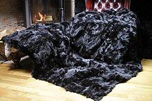 Toscana Lammfelldecke Schaffelldecke schwarz 280 x 230 cm Rückseite Leder
