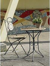 TOSCANA Mosaikstuhl [2 Stück] Eisengestell bronze pulverbeschich
