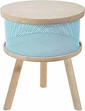 Tosel Lucienne Tisch Truhe, Massiv, Holz, blau