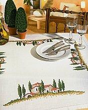 Toskanische Landschaft Stamped Cross Stitch-Tischdecke-Größe 85 x 85 Cm-Kreuzstich