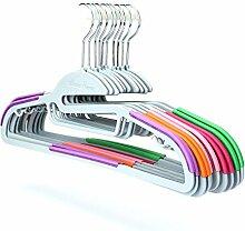 Tosnail 10 Stück Farbig Antirutsch Kleiderbügel aus hochwertigem Kunststoff