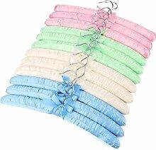 Tosnail 12er set Kleiderbügel gepolstert im blau, Weiß, rosa und grün