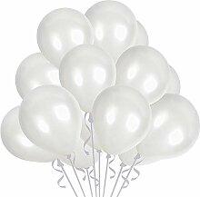 TOSOAR 100 Luftballons Metallic Weiß Ballons