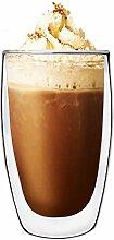TOSSOW Kaffeetasse, groß, Glas, doppelwandig,