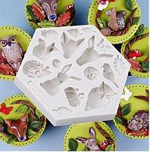 TOSSPER 3D Waldtier Mold-Silikon-Form-Kuchen,