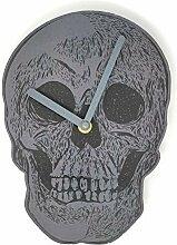 Totenkopf Analog grau schwarz Wanduhr