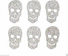 Totenkopf-Aufkleber, glitzernd, selbstklebend, zum