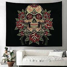 Totenkopf Blumen Wandteppich Halloween Schädel