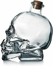 Totenkopf-Dekanter, bleifrei, Glas, mit