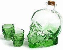 Totenkopf Demon Getränk grün Glas Dekanter und