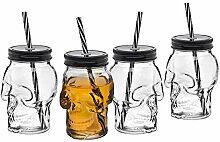 Totenkopf-Einmachglas-Tasse, Glas, Becher mit