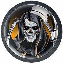 Totenkopf-Reaper Möbelknäufe aus ABS-Glas, rund,