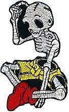 Totenkopf Skelett Gothic Emo Horror bestickt