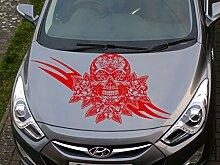 Totenkopf und Rosen Auto-Motorhaube Aufkleber Skull Aufkleber auf der Kapuze der Auto, Skull Aufkleber auf Kapuze der Auto. ro