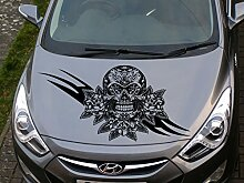 Totenkopf und Rosen Auto-Motorhaube Aufkleber