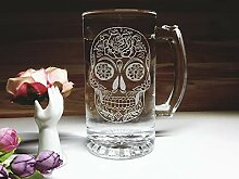"Totenschädel-Glas""Day of the Dead"""