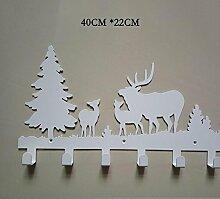 TOTO Kreative Wandhaken Reihe Wandkleiderhaken Kleiderbügel Wand Kleiderbügel Eisenhaken Kleiderhaken (40 * 22cm) ( Farbe : Weiß )