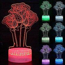 Touch Nachtlicht 3D Led Rose Nachtlicht