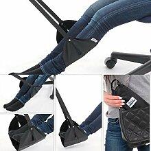 TOUCHFIVE Fuß Hängematte Büro Hängematte Hängesessel Schreibtisch Fußmatte Fußstütze für Flugzeug Zug (schwarz)