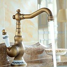 TougBoo Messing 2 Griff Wasserfall Waschbecken Wasserhahn Sus304 Edelstahl Auslauf Wandhalterung für Badezimmer-Eitelkeit oder Schüssel Waschbecken Chrom, L3301, eine antike kurze