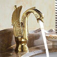 TougBoo neue Design Luxus Kupfer Armaturen für warmes und kaltes Schwan Armatur Gold vergoldet Gold Waschbecken Wasserhahn Mischer Armaturen Hj - 35K, Messing, Golden