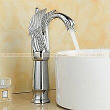 TougBoo neue Design Luxus Kupfer Armaturen für warmes und kaltes Schwan Armatur Gold plattiert Waschbecken Wasserhahn Mischer Armaturen Hj - 36K, Messing, Chrom