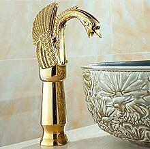 Tougboo neues Design Luxus Kupfer heißen und kalten tippt Schwan Armatur Gold plattiert Waschbecken Wasserhahn Mischbatterien, Messing, Golden
