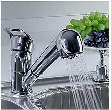 TougBoo Single Handle niedrigen Bogen herausziehen Küche Waschbecken Wasserhahn mit zwei Spray Modell, Chrom, Chrom