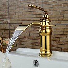 Tougboo Wasserfall Wasserhahn Luxus Single Hebel Küche Waschbecken Wasserhahn Messing antik fertige Spüle Mischbatterie, Chrom, Typ 2