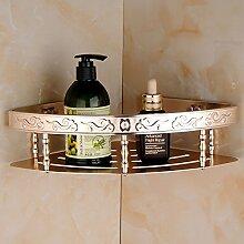 Tougmoo Aluminium Badezimmer Regal Shampoo Seife Kosmetik Regale mit Haken accessoires badezimmer Regal Korb Double Layer, Champagner Single