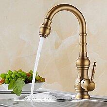 TougMoo Antike Bronze Küche Küche Armaturen Armaturen Waschbecken Hand tippen Sie heiße und kalte Waschbecken auf HJ-1558F,Antike