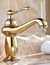 TougMoo Antique Gold poliert Wasserhahn Messing Armaturen Badezimmer Waschbecken Waschbecken Mischbatterie Bad Hardware setzt Badewanne Dekoration, Gelb