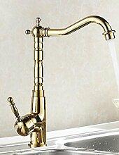 TougMoo Auswind Messing antik Gold Wasserhahn Küche Schwenken Armaturen Bad Armatur Waschbecken Waschbecken Mischbatterie, Gelb