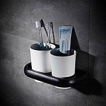 TougMoo Bad Accessoires Einfache Schwarze Bronze Handtuch Art Kupfer Bad En Suite Double Layer Retro,Zwei Becherhalter