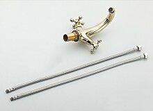 TougMoo Bad Armatur Gold Doppel Cross Griff Waschbecken Mischbatterie Wasserhahn poliert Einlochmontage Becken Becken Tapg 1014, Gelb
