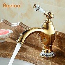 TougMoo Badezimmer goldene Wasserhähne mit Porzellan Messing antik Bad Wasserhahn Wasser Waschbecken Mischbatterie, einseitiger Griff