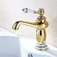 TougMoo Badezimmer in Weiß und Blau Waschbecken Wasserhahn tippen, Messing vergoldet Heiß und Kalt gemischt Badewanne Armatur Torneira Banheiro